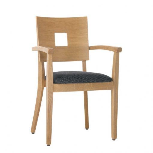 Gastronomiestuhl Lido, Holzstuhl mit Armlehnen Stuhlfabrik Schnieder