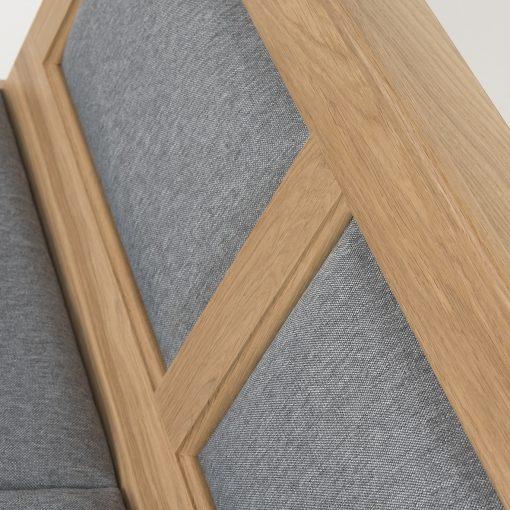 Holzbank mit Sitz- und Rückenpolster, Gastronomie Möbel, Eiche massiv